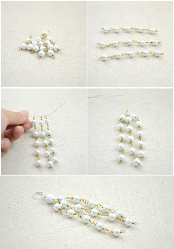 Wire-jewelry-making-design-long-pearl-earrings-steps Make Special Gifts For Your Friends with Wire Jewelry