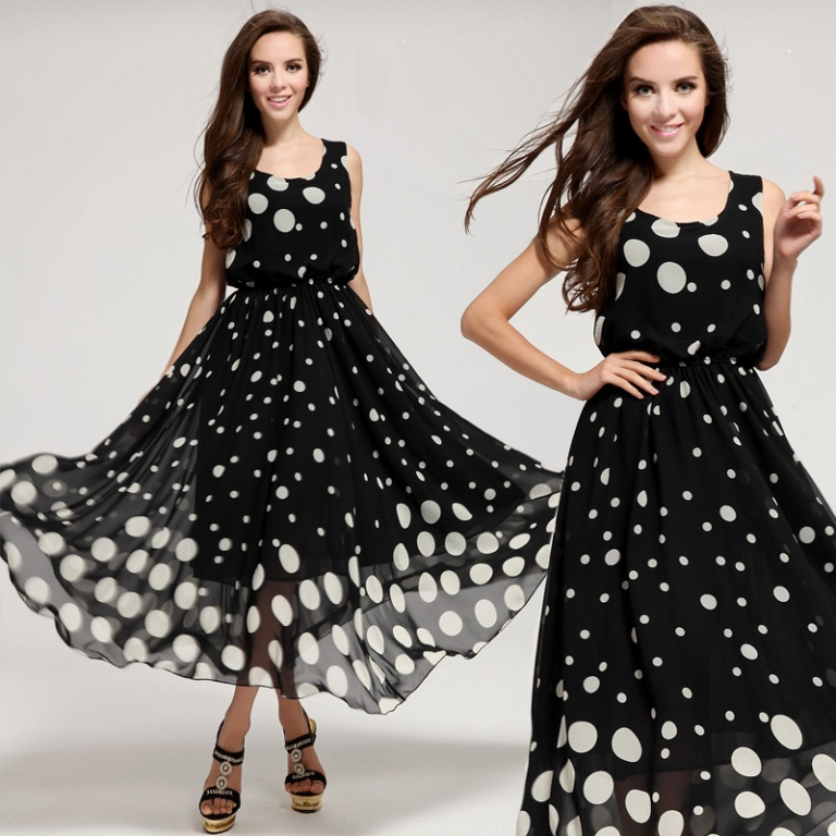 Women-2014-Summer-Fashion-Elegant-Brief-Black-and-White-Dot-Sleeveless-O-neck-Plus-Size-Tank Top 10 Fabulous & Stunning Fashion Trends for 2019