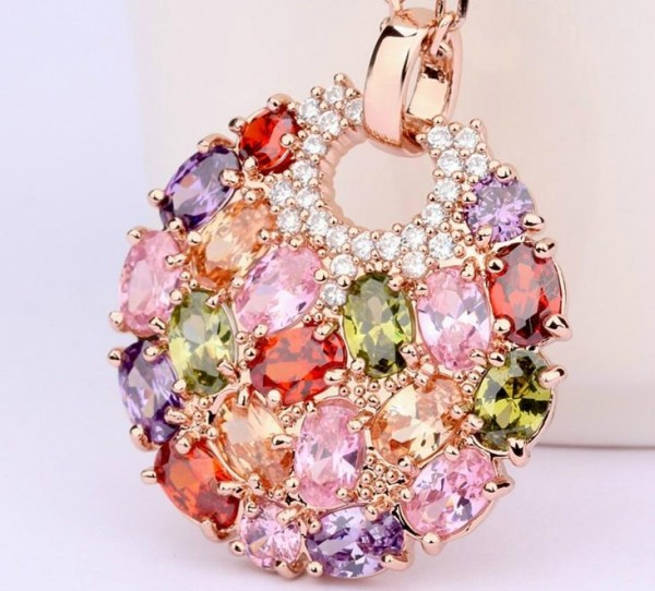 Women_Jewelry_Multicolor_Zircon_Round_Pendent_Necklace_Wholesale These 25+ Multicolor Jewels Will Live Up Your Outfit And Uplift Your Mood As Well