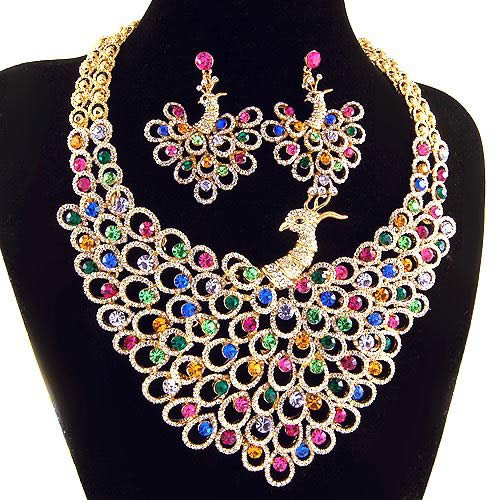 bridal-jewelry-set-luxurious-necklace-peacock-pattern-Neoglory-wedding-jewelry-set-classic-18k-GP-multi-color These 25+ Multicolor Jewels Will Live Up Your Outfit And Uplift Your Mood As Well