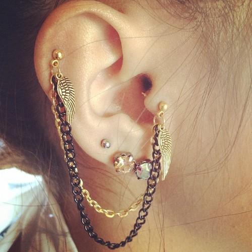 cute-multiple-earrings-tumblr 35+ Most Fashionable Women and Girls Earrings Designs