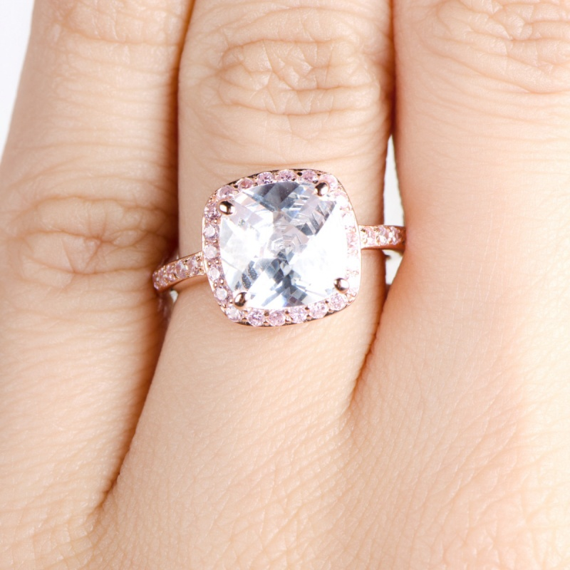 marina-s-rose-gold-cushion-cut-engagement-ring-with-pink-czs-67 30 Elegant Design Of Engagement Rings In Rose Gold