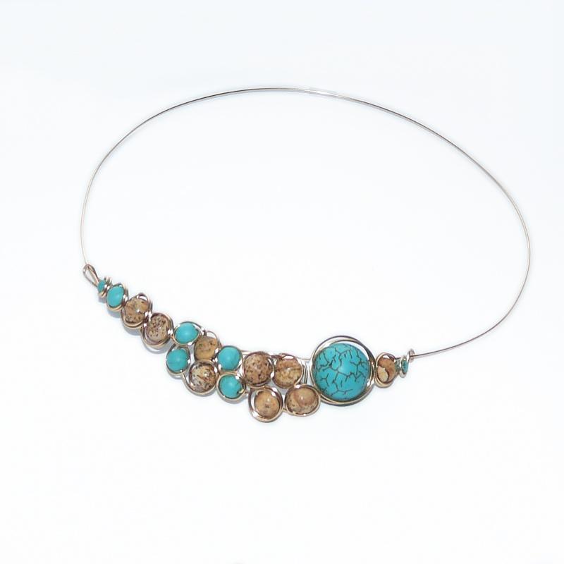 sarma-gilt-aurita-bijuterii-handmade-jewelry-icolier-necklace-golden-wire-turcoaz-si-jasp-semipretioase Make Special Gifts For Your Friends with Wire Jewelry