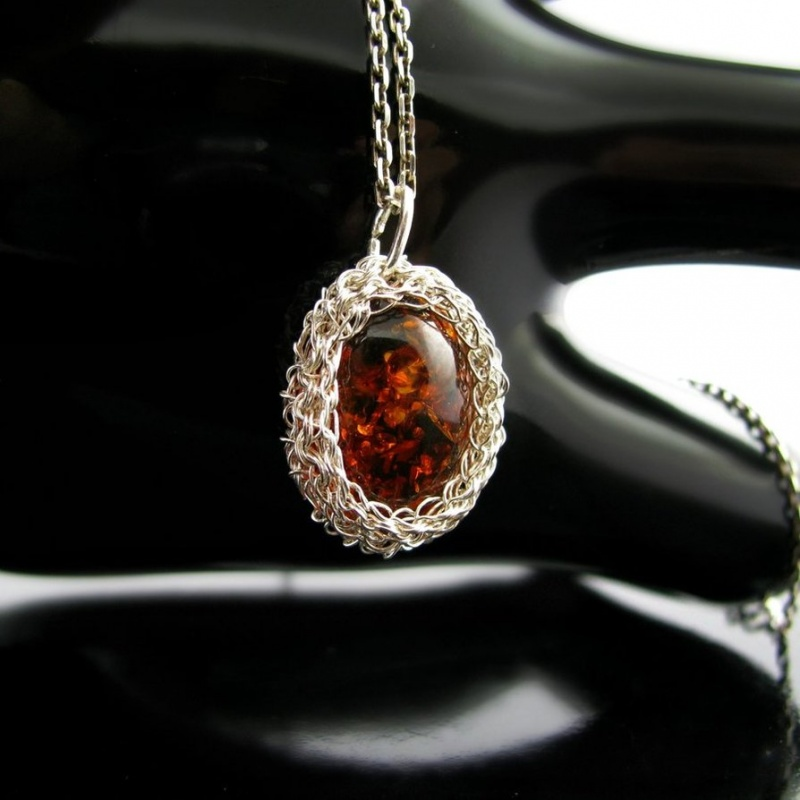 silver_wire_crochet_pendant_with_faux_amber__1_by_catswire-d59brac Make Special Gifts For Your Friends with Wire Jewelry