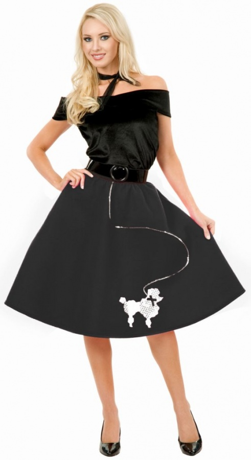 1136BL-Plus-Size-Black-Poodle-Skirt-Costume-large1 Top 15 Most Common Trends & Fads in 1950's