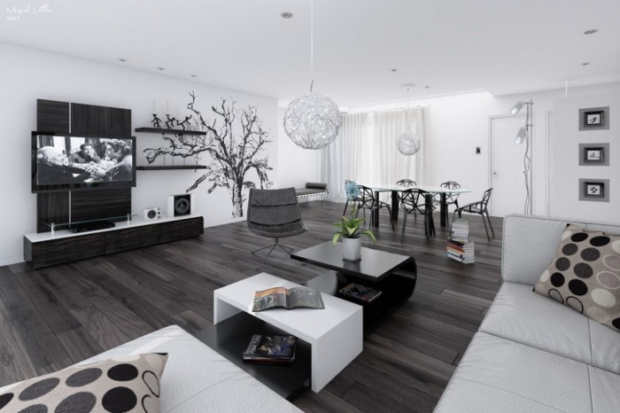 14-Black-and-white-living-dining-room1 37+ Latest Home Interior Color Trends