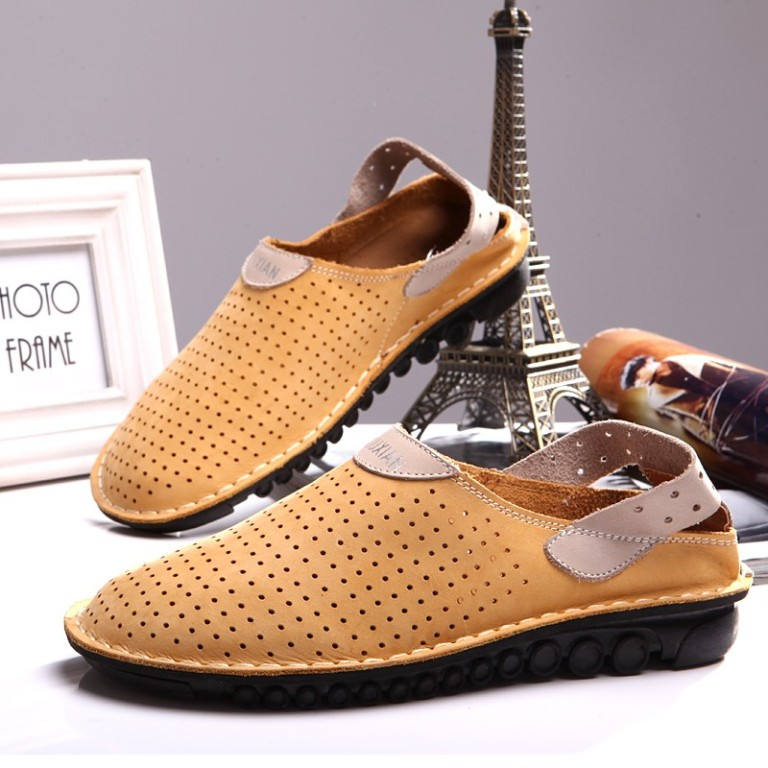 2014-New-Summer-Toe-Cap-Sandals-Cutout-Casual-Shoe-Slippers-Men-s-Breathable-Genuine-Leather-shoes 20+ Exclusive Men's Shoes Fashion Trends Coming Back in 2020