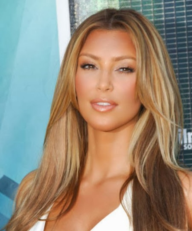 Caramel blonde hair color kim kardashian for Caramel blond