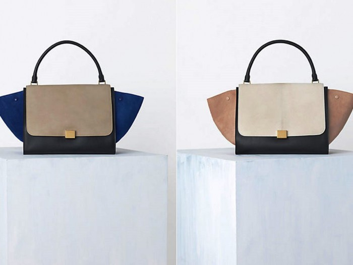 Celine-Tricolor-Suede-Blue-and-Cream-Trapeze-Bag-Spring-2014