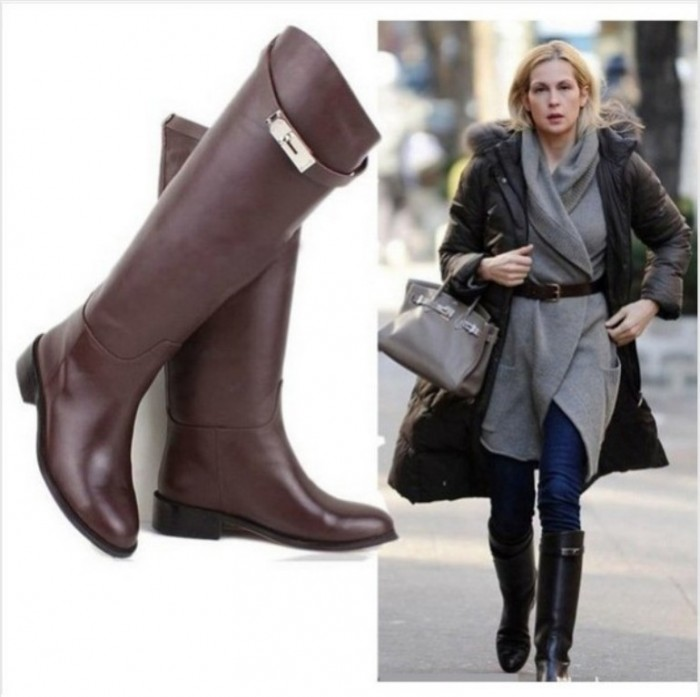 EURO-Buckle-Strap-Women-Knee-High-Flat-Motorcycle-boots-brand-black-brown-Head-layer-cowhide-genuine 20+ Best Chosen Boot Trend Forecast for Fall &  Winter 2019