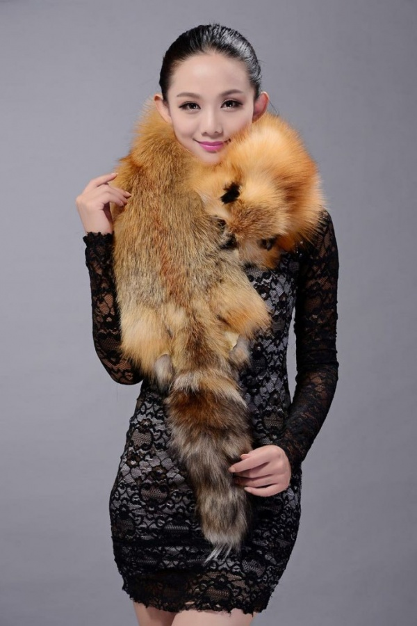 Fox-fur-scarf-fashion-Women-Whole-fox-fur-shawl-winter-warm-tippet-neck-wrap-Brown-l6 Best 10 Scarf Trend Forecast for Fall & Winter 2019