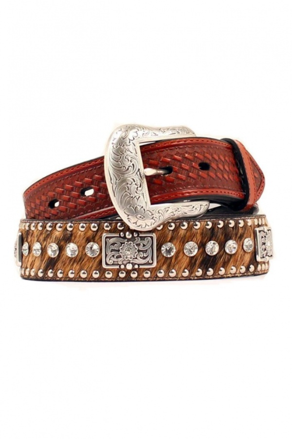 Nocona_Brown_Crystals_Square_Concho_HairOn_Western_Belt_N2442302 20+ Stylish Belt Trend Ideas for Fall & Winter 2020