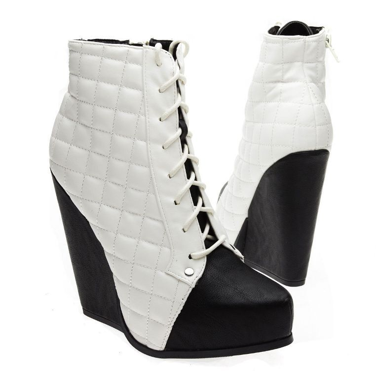 White-Black-Quilted-Woven-Lace-Up-Platform-Wedge 20+ Best Chosen Boot Trend Forecast for Fall &  Winter 2019