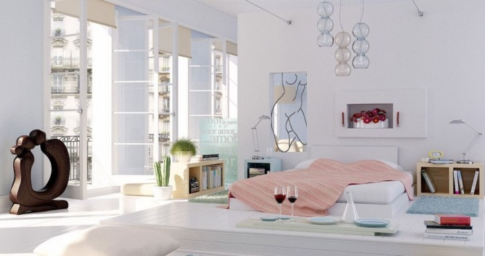 beautiful-2014-home-design-trends-with-bedroom-white-pillows-peach-blanket-night-table-cool-table-lamps-bookshelves-pendant-lamps-blue-rug-and-gla1 37+ Latest Home Interior Color Trends