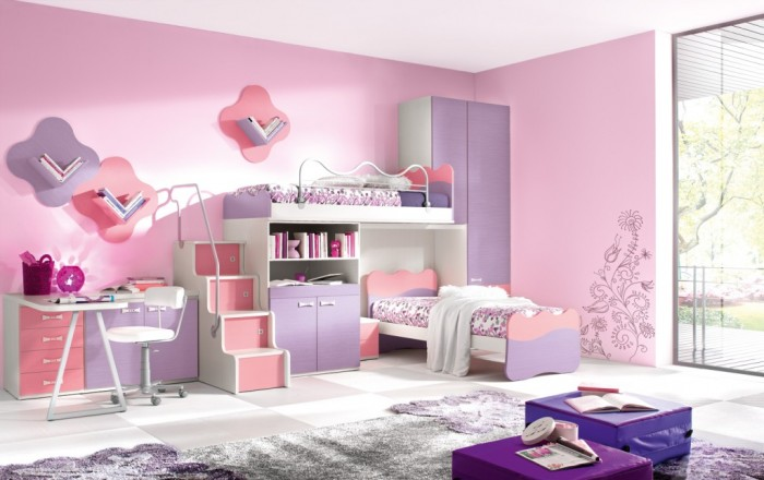 bedroom-easy-girly-decorating-idea-with-tulip-violet-and-pink-in-space- 37+ Latest Home Interior Color Trends