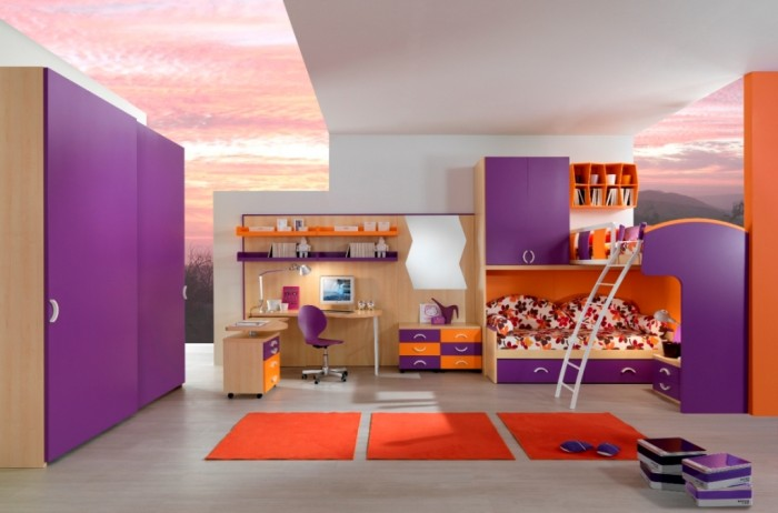bedroom-trendy-dashing-purple-haze-and-celosia-orange-bunk-bed-bedroom-style-super-stylish-bunk-bed-styles-and-colors-for-2014-bedroom-designs 37+ Latest Home Interior Color Trends