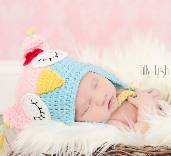 crochet-baby-hat-owl-sleeping-turquoise-light-pink-photography-prop-for-babies-girls-e1345242691969 20 Marvelous & Catchy Crochet Hats for Newborn babies