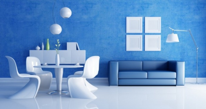 dazzling-blue-living-room-added-with-white-lamps-and-round-table-850x450 37+ Latest Home Interior Color Trends
