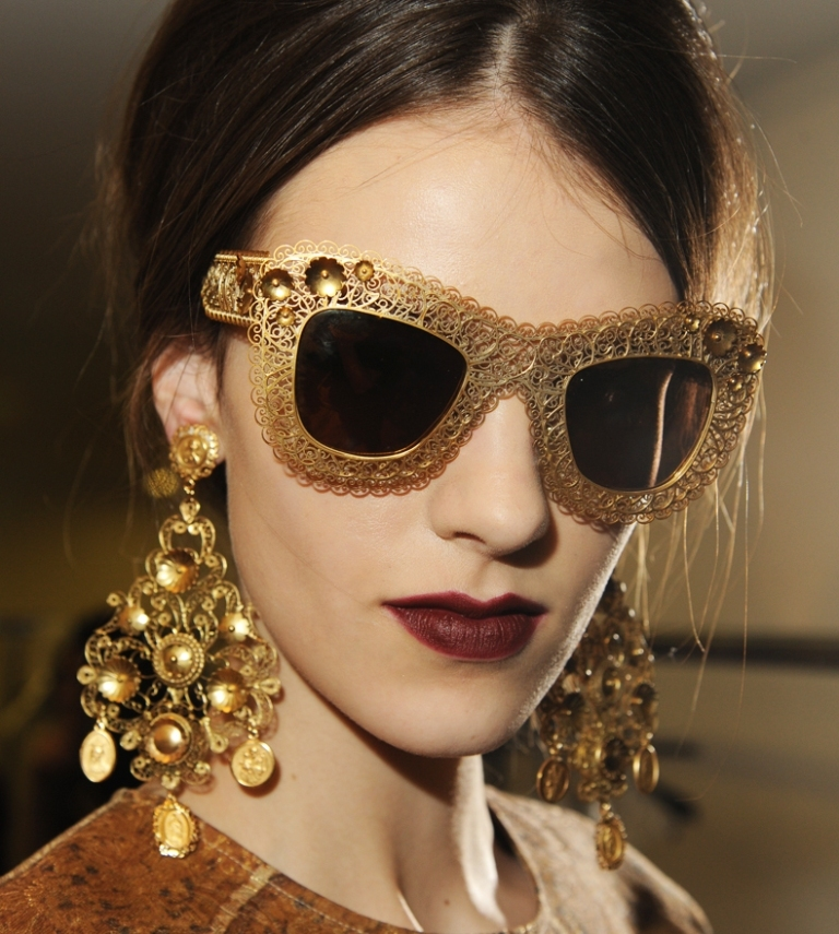 dolce-and-gabbana-fw-2014-mosaic-women-collection-the-sunglasses-and-earrings 20+ Hottest Women's Sunglasses Trending For 2019