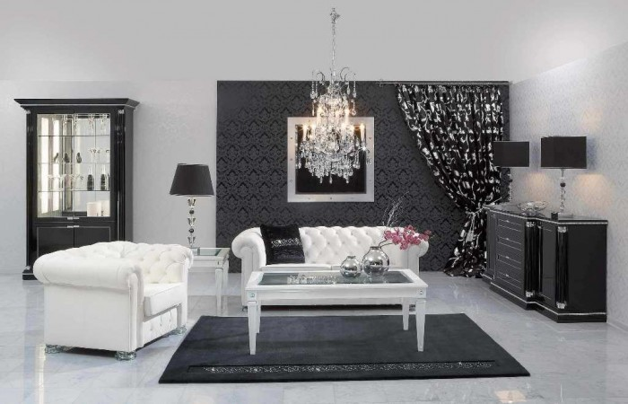 elegant-living-room-with-black-white-color-decorating-with-wallpaper-texture-black-color-and-curtain1 37+ Latest Home Interior Color Trends