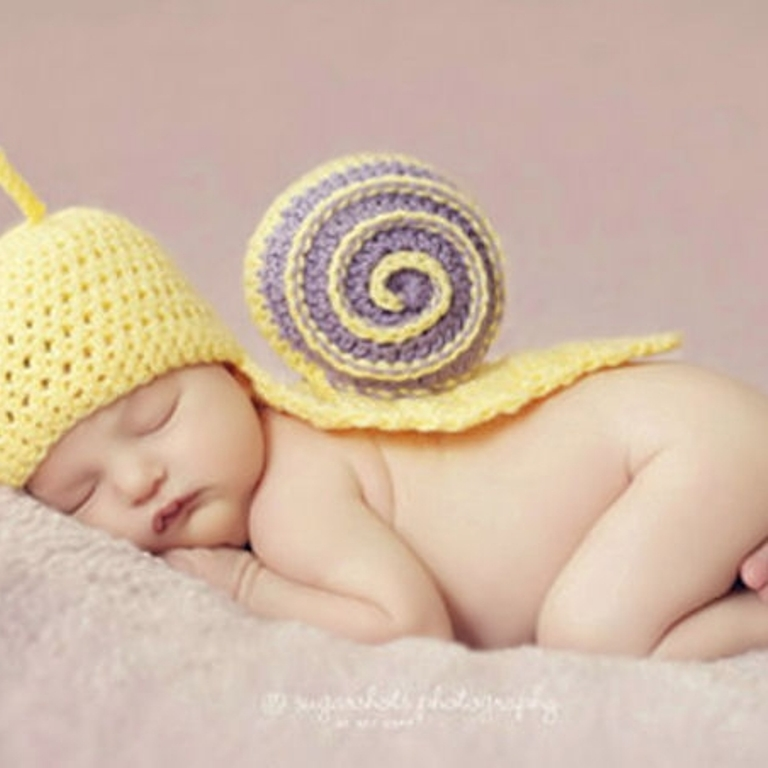 snailphotopropbabynewborncrochet 25 Breathtaking & Stunning Collection of Crochet Clothes for Newborn Babies