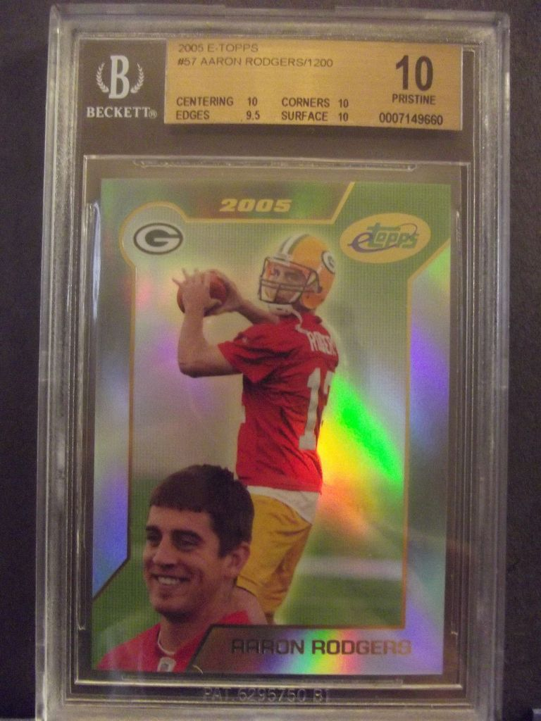 2005-Topps-E-Topps-57-Aaron-Rodgers-RC-Rookie-rd-BGS-10-Pristine Top 10 Most Valuable & Expensive eTopps Sports Cards