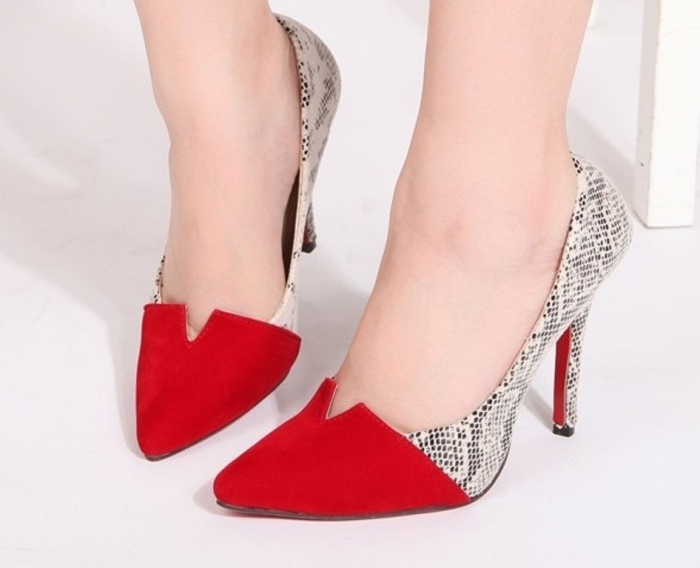 2013-personalized-fashion-serpentine-pattern-color-block-pointed-toe-shoes-red-bottoms-sole-woman-pumps-size Top 20 Fashion Trends that Men Hate