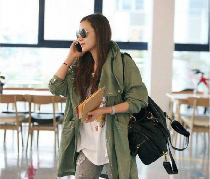 2014-New-fashion-Women-free-size-one-size-Military-Parka-Button-green-embroidery-Skull-Back-long 20 Military Clothing Fashion Trends 2017 ... [UPDATED]