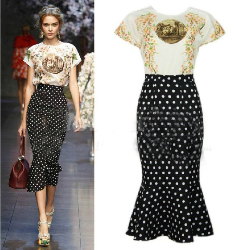 2014-Spring-Runway-Fashion-Women-s-Retro-National-Trend-Tribal-Printed-Short-Sleeves-TOP-Classic-Polka Top 12 Hottest Women's Color Trends Coming for 2019