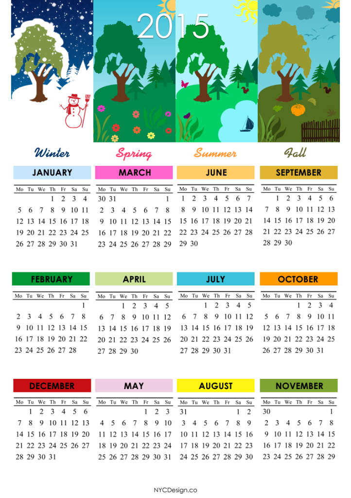 2015-Calendar-4Seasons-002 Best 15 Printable Calendar Templates