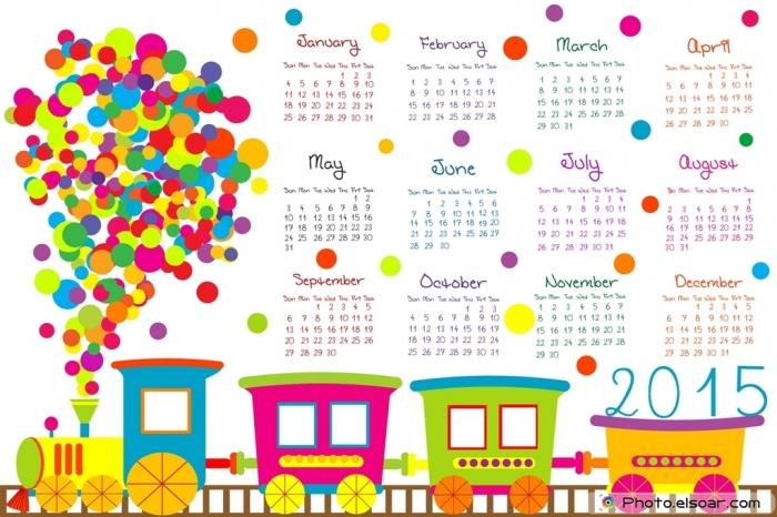2015-Calendar-for-kids-with-cartoon-train Best 15 Printable Calendar Templates