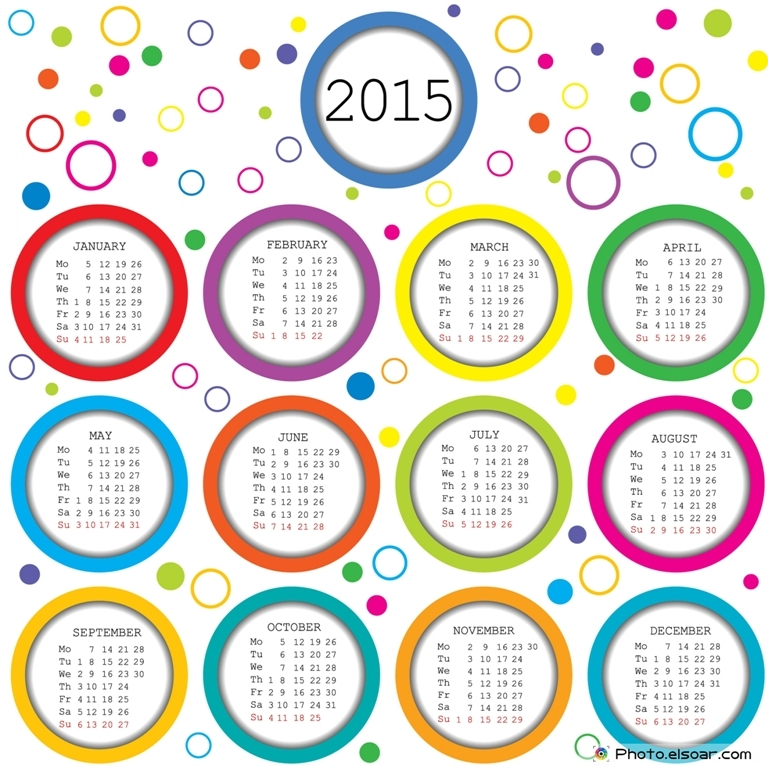 2015-Calendar-for-kids-with-colored-circles Best 15 Printable Calendar Templates