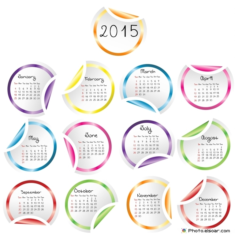 2015-Calendar-with-round-glossy-stickers Best 15 Printable Calendar Templates