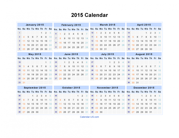 2015-Calendar. Best 15 Printable Calendar Templates
