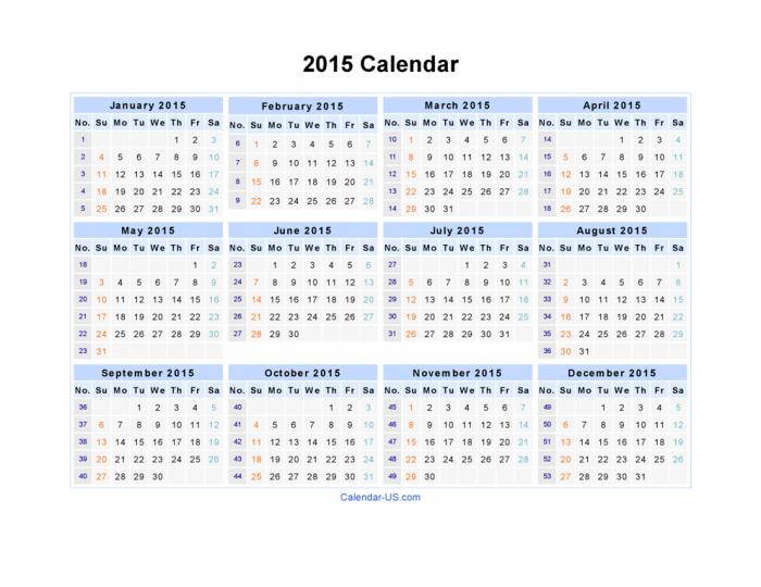 2015-Calendar. Best 15 Printable Calendar Templates