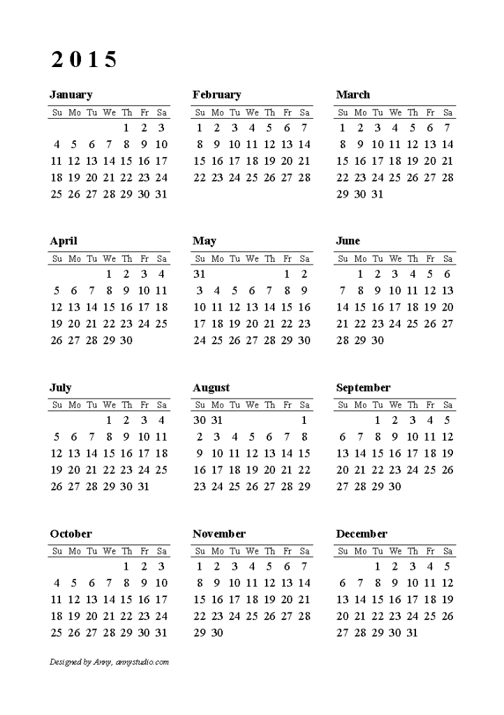 2015-calendar-row-su-portrt-1 Best 15 Printable Calendar Templates
