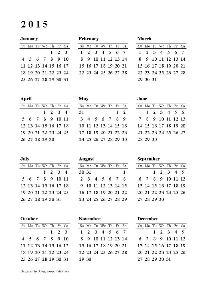 2015-calendar-row-su-portrt-1 Best 15 Printable Calendar Templates