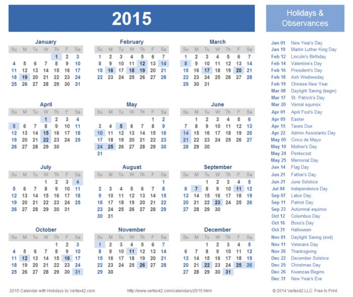 2015-calendar-with-holidays Top 15 Holiday Calendar Designs [EXCLUSIVE] ...