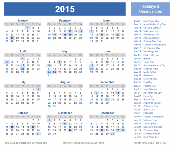 2015-calendar-with-holidays Top 15 Holiday Calendar Designs [EXCLUSIVE] ...