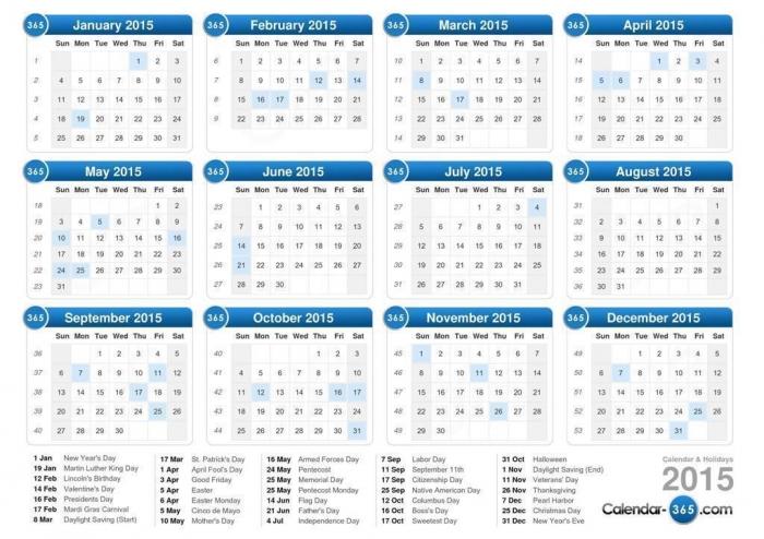 Calendar Online 2015 Calendar Printable Download 2015 Calendar Free ...