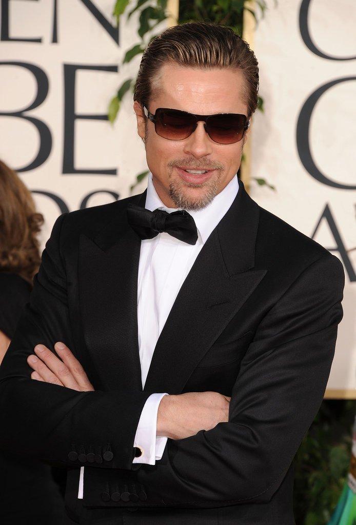 Brad-Pitt-pulled-bad-boy-card-Golden-Globes-red-carpet Best Chosen 15 Celebrity Beard Styles for 2019