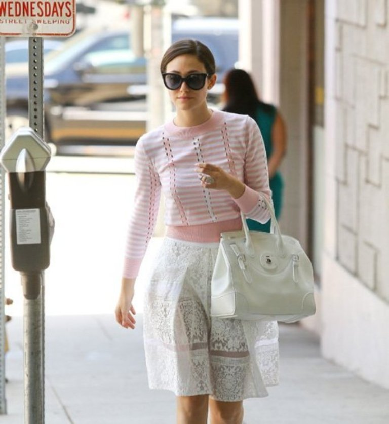 Emmy-Rossum-Tanya-Taylor-sweater Top 10 Celebrity Casual Fashion Trends for 2019