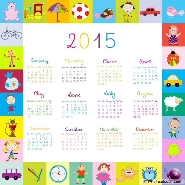 Frame-with-toys-2015-calandar-for-kids Best 15 Printable Calendar Templates