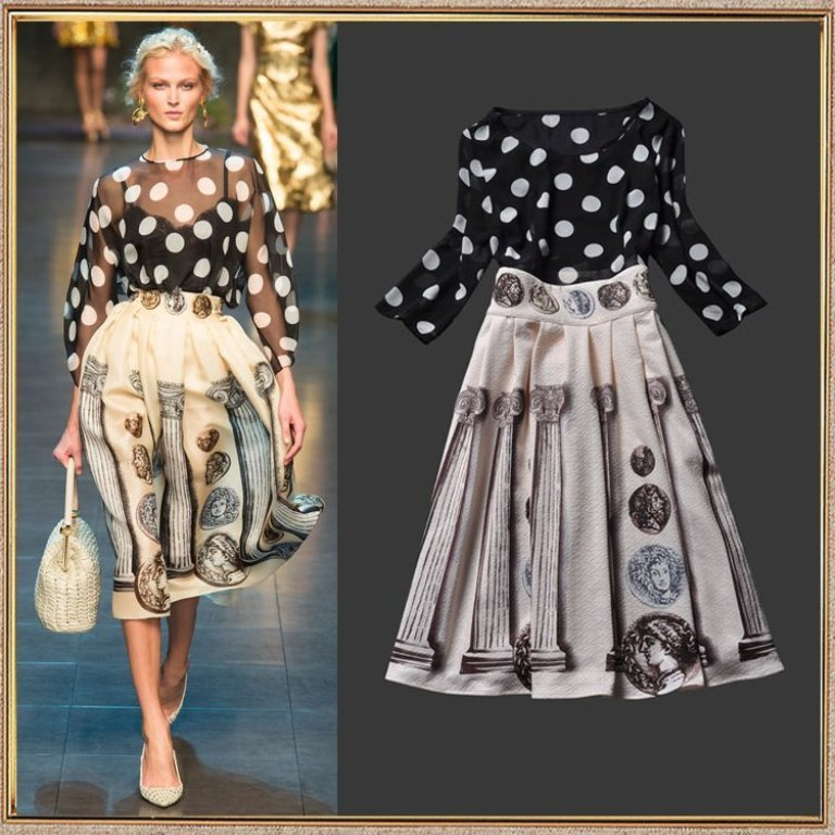 High-Quality-Trend-Fashion-2014-Spring-Summer-Runway-Dot-Print-Chiffon-Vintage-Pattern-Set-Women-s Top 12 Hottest Women's Color Trends Coming for 2019