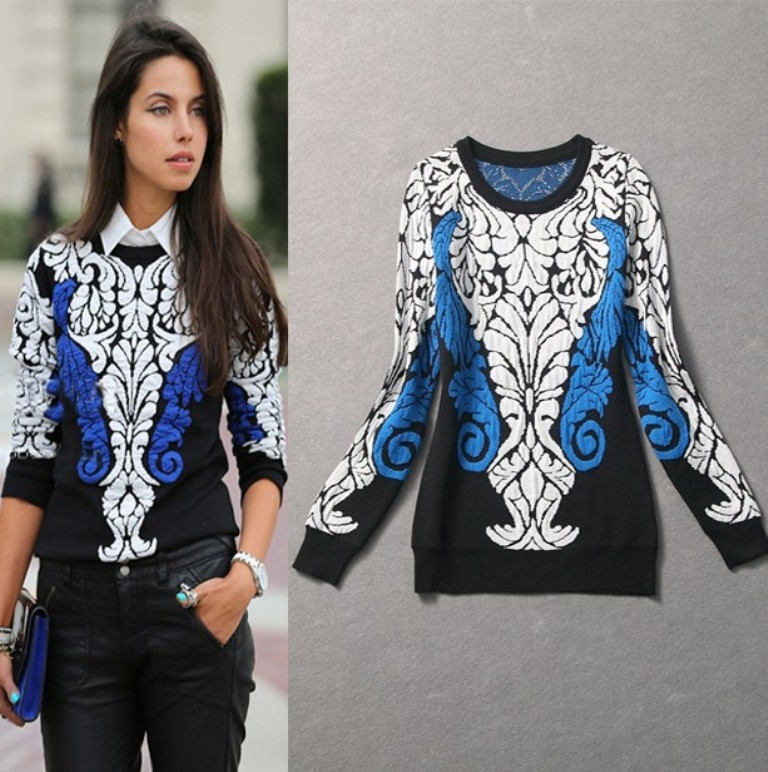 Hot-Fashion-Trend-2014-Spring-Women-Color-Block-Print-Cashmere-Knitted-Pullovers-women-s-sweater-fashion Top 12 Hottest Women's Color Trends Coming for 2019