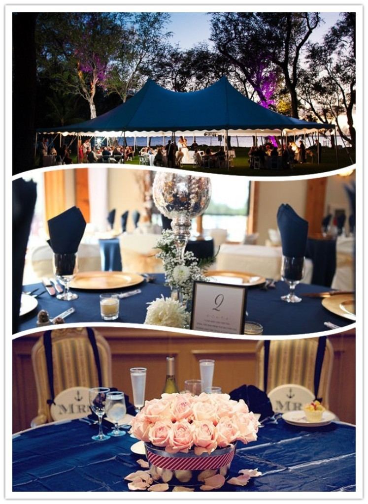 Navy-blue-wedding-settings-and-decorations Top 10 Modern Color Trends for Weddings Planned in 2019