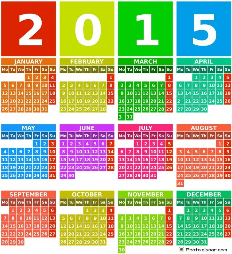 Rainbow-2015-calendar-with-months Best 15 Printable Calendar Templates