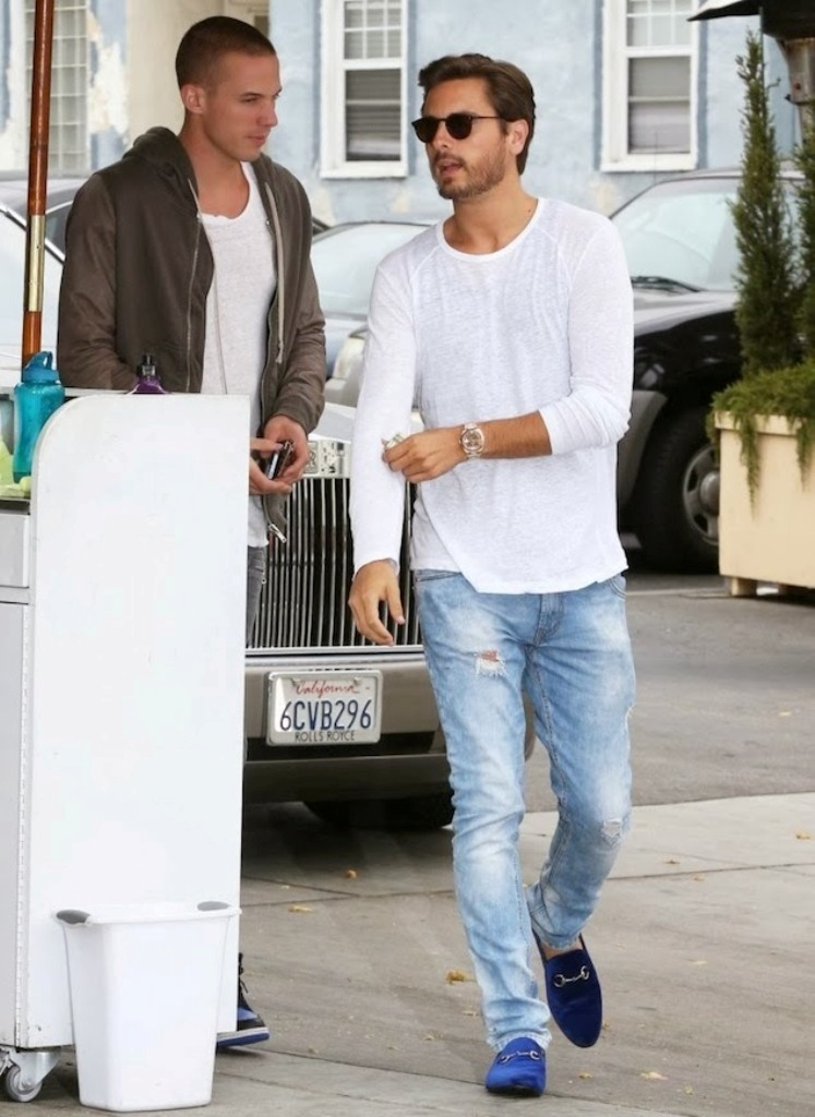Scott-Disick-wears-a-long-sleeve-shirt-washed-ripped-jeans-and-Gucci-blue-velvet-horsebit-moccasin-loafers-in-Beverly-Hills Top Celebrity Men's Fashion Trends for Summer 2017