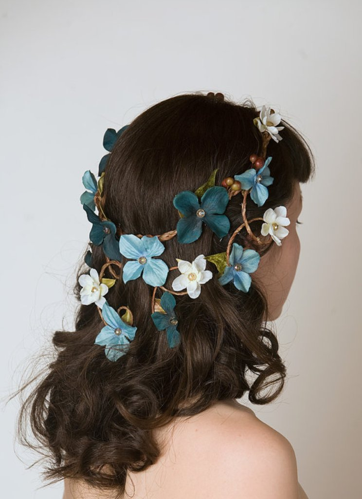 Something-Blue-Wedding-Ideas-Floral-Crown-Head-Piece-Cascading-Veil-of-Turquoise-Blue-Aqua-Flowers-Woodland-Wedding-Wreath-Forest-Nymph-Circlet Top 10 Modern Color Trends for Weddings Planned in 2019