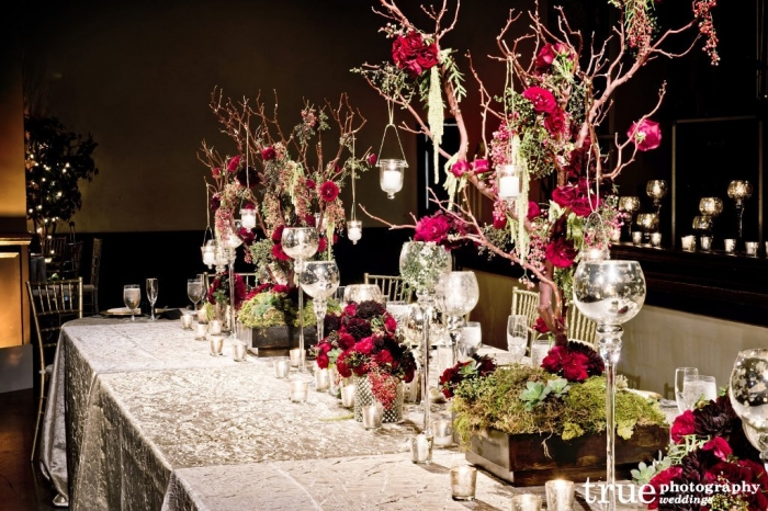 an-enchanted-wedding-celebration-at-the-prado-with-floral-decor-black-and-burgundy-wedding-decorations 25+ Breathtaking Wedding Centerpieces Trending For 2019